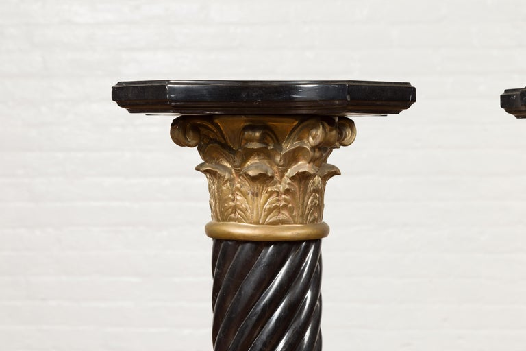 Pair of Black Carrara Marble Twisted Pedestals with Bronze Corinthian Capitals For Sale 1