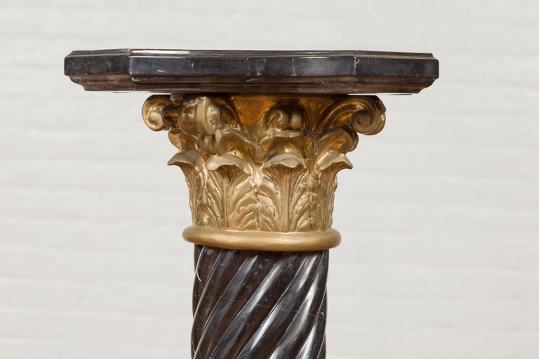 Pair of Black Carrara Marble Twisted Pedestals with Bronze Corinthian Capitals For Sale 3