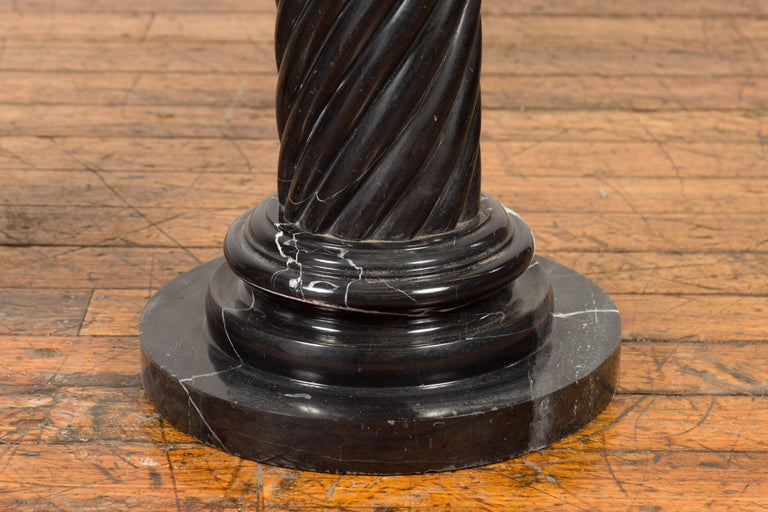 Pair of Black Carrara Marble Twisted Pedestals with Bronze Corinthian Capitals For Sale 4