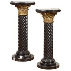 Pair of Black Carrara Marble Twisted Pedestals with Bronze Corinthian Capitals