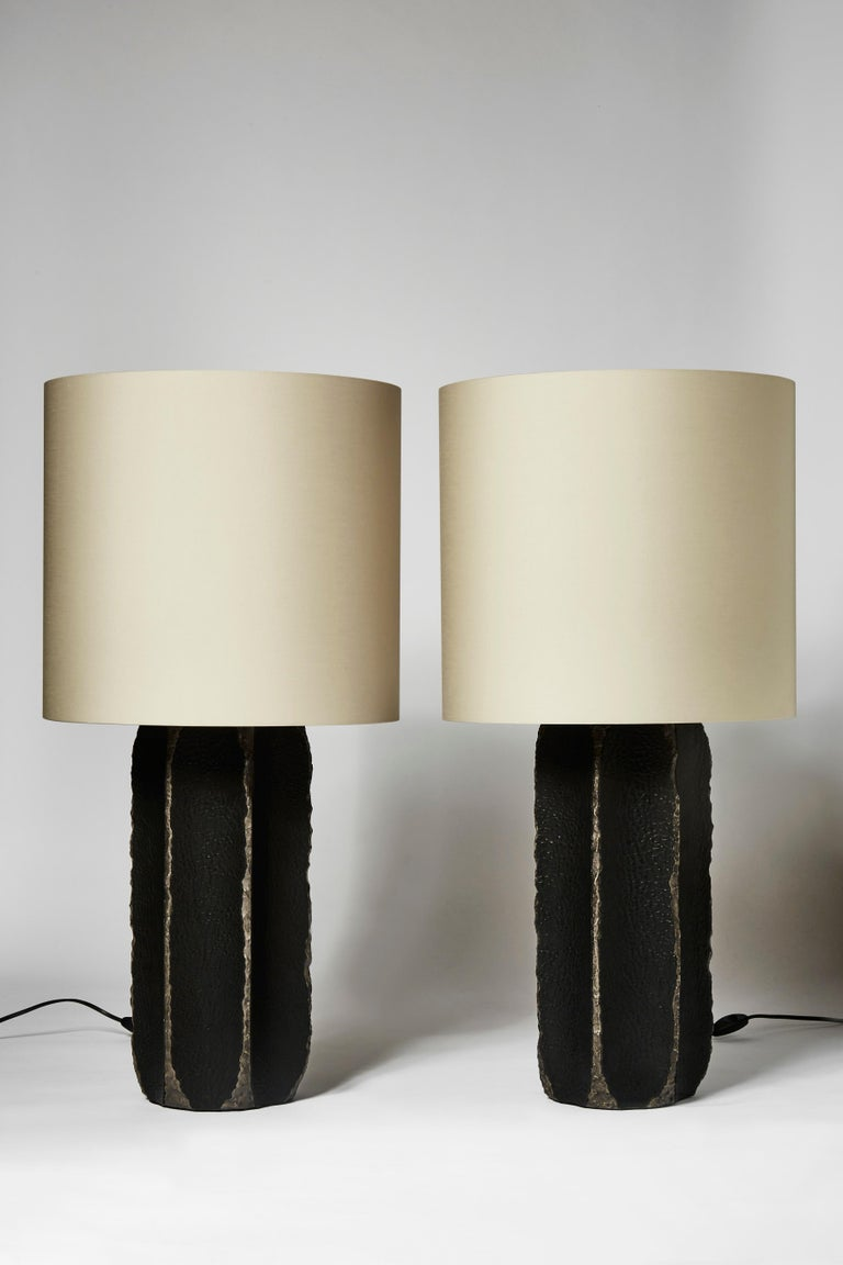 Modern Pair of Black Ceramic and Leather Table Lamps