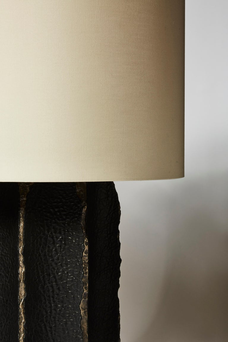 French Pair of Black Ceramic and Leather Table Lamps