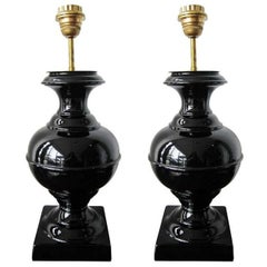 Pair of Black Ceramic French Mid-Century Modern Lamps, with New Shades