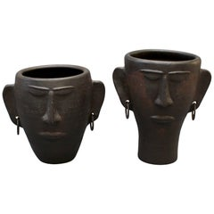 Pair of Black Ceramic Head Sculptures / Vases with Earrings, circa 1950s