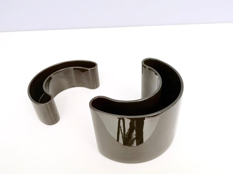 Pair of Black Ceramic Pieces by Pino Spagnolo for Sicart, Italy, 1970s In Excellent Condition For Sale In Bresso, Lombardy