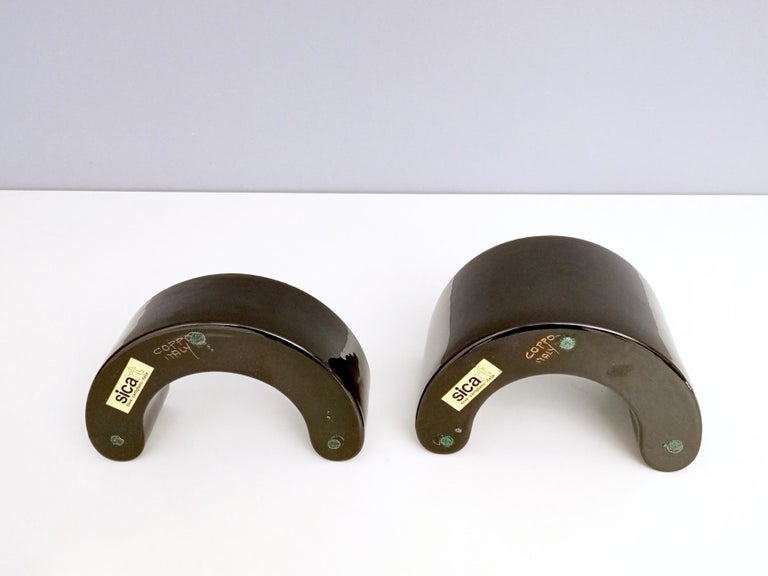 Pair of Black Ceramic Pieces by Pino Spagnolo for Sicart, Italy, 1970s For Sale 3