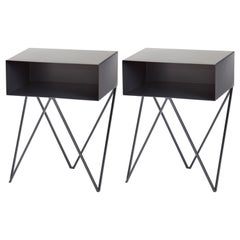 Pair of Black-Coated Steel Robot Bedside Tables