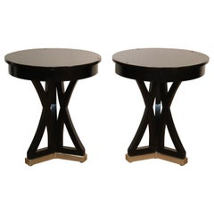 Pair of Black Contemporary Round End Tables with Metal Bases