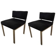 Pair of Black Cowhide Cow Hide and Chrome Chairs Billy Haines Style