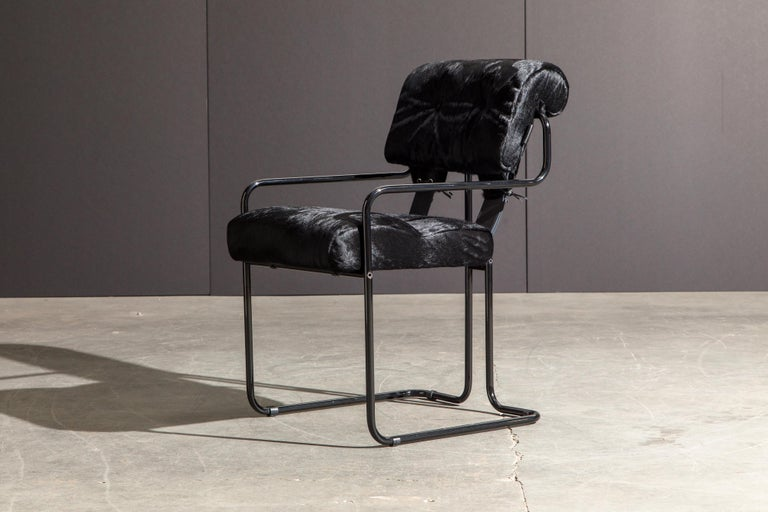 Pair of Black Cowhide 'Tucroma' Armchairs by Guido Faleschini for Mariani, New 3