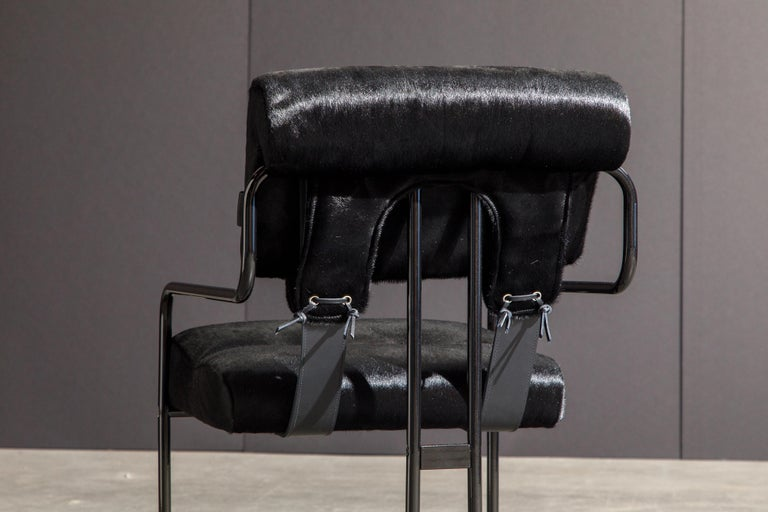 Pair of Black Cowhide 'Tucroma' Armchairs by Guido Faleschini for Mariani, New 5