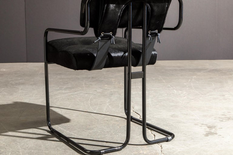 Pair of Black Cowhide 'Tucroma' Armchairs by Guido Faleschini for Mariani, New 6