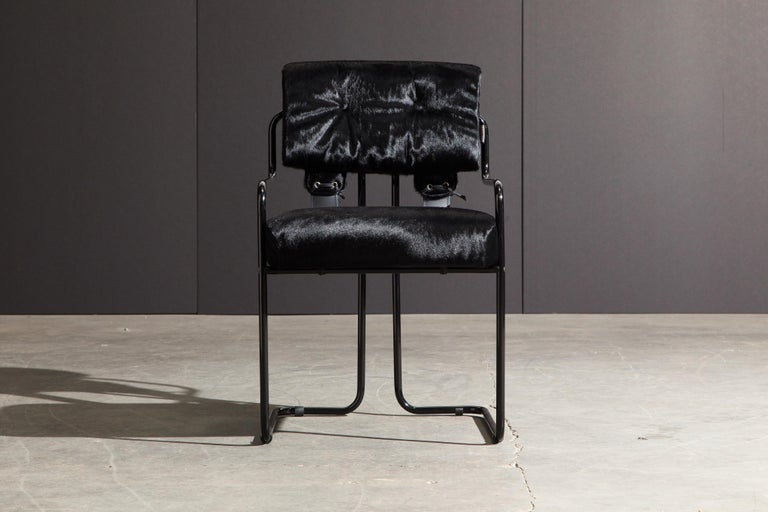 Modern Pair of Black Cowhide 'Tucroma' Armchairs by Guido Faleschini for Mariani, New