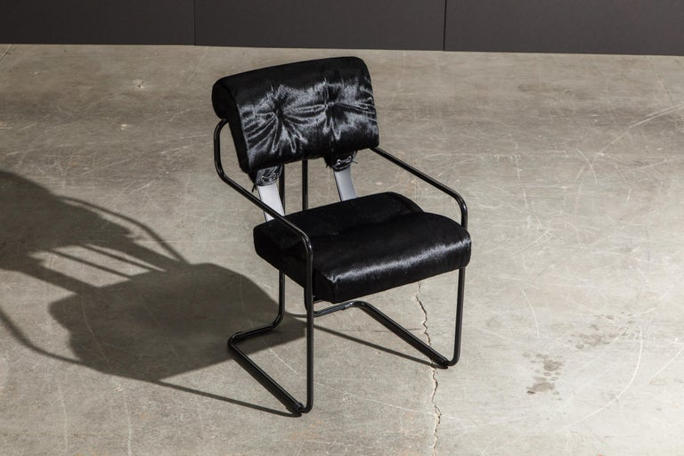 Lacquered Pair of Black Cowhide 'Tucroma' Armchairs by Guido Faleschini for Mariani, New