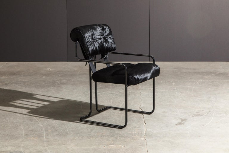 Pair of Black Cowhide 'Tucroma' Armchairs by Guido Faleschini for Mariani, New In New Condition In Los Angeles, CA