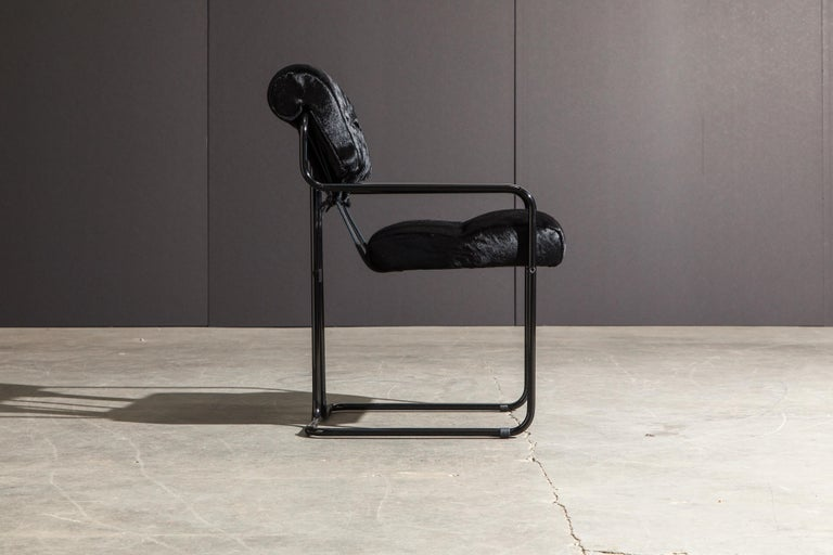 Contemporary Pair of Black Cowhide 'Tucroma' Armchairs by Guido Faleschini for Mariani, New