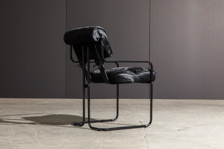 Steel Pair of Black Cowhide 'Tucroma' Armchairs by Guido Faleschini for Mariani, New