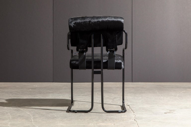Pair of Black Cowhide 'Tucroma' Armchairs by Guido Faleschini for Mariani, New 1