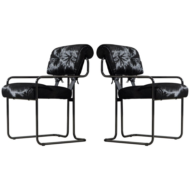 Pair of Black Cowhide 'Tucroma' Armchairs by Guido Faleschini for Mariani, New