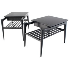 Pair of Black Ebonised One Drawer End Nightstands with Magazine Rack Sculptural