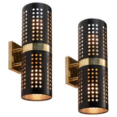 Pair of Black Enamel and Brass Sconces