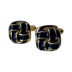Pair of Knot Cufflinks with Black Enamel-Gold Filled