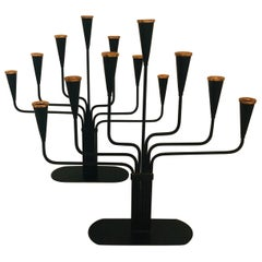 Pair of Black Enameled with Bronze Accents Seven Arm Ystad Metall Candelabras