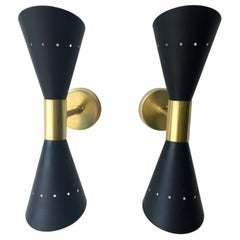 Pair of Black Enameled w/ White Interior Steel w/ Brass Hardware 2 Cone Sconces