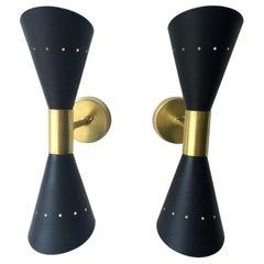 Pair of Black Enameled w/ White Interior Steel w/ Brass Hardware 2 Cone Sconces