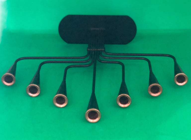 Pair of Black Enameled with Bronze Accents Seven Arm Ystad Metall Candelabras For Sale 9