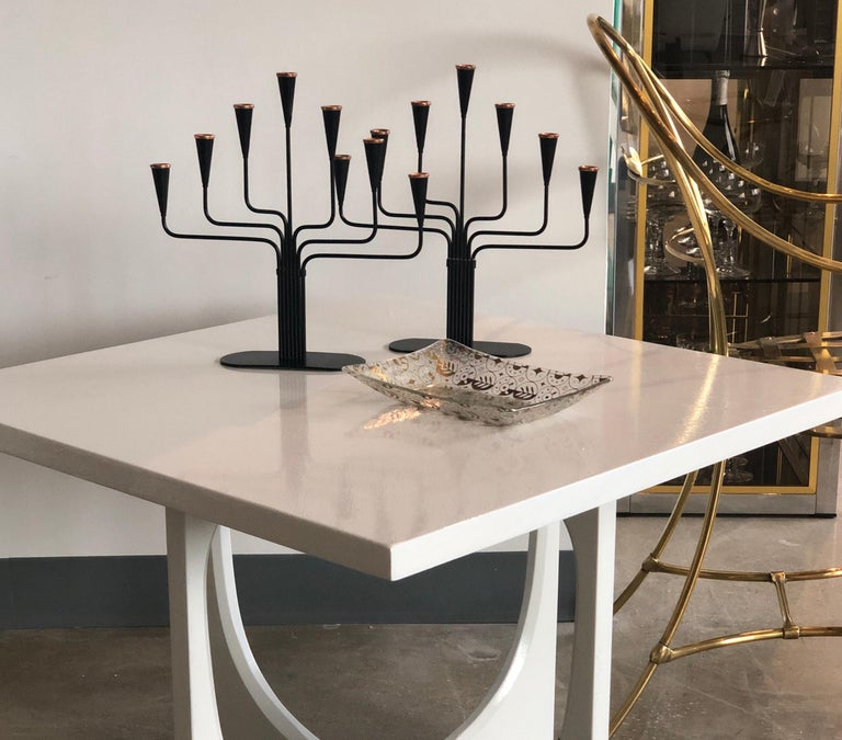 Pair of Black Enameled with Bronze Accents Seven Arm Ystad Metall Candelabras For Sale 14