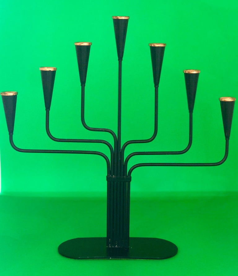 Mid-Century Modern Pair of Black Enameled with Bronze Accents Seven Arm Ystad Metall Candelabras For Sale