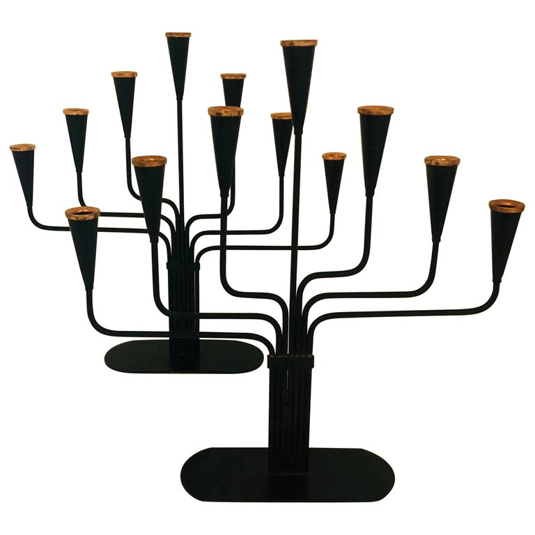 Pair of Black Enameled with Bronze Accents Seven Arm Ystad Metall Candelabras For Sale