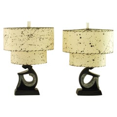 Pair of Black Figurative Table Lamps by F.A.I.P, 1950s