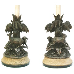 Pair of Black Forest Animalier Lamps, c1880
