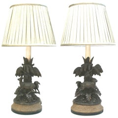 Pair of Black Forest Animalier Lamps, circa 1880