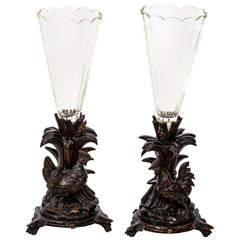 Pair of Black Forrest Style Crystal and Wood Flower Vases