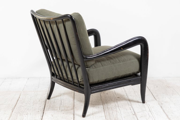 Mid-20th Century Pair of Black Framed Italian Armchairs For Sale