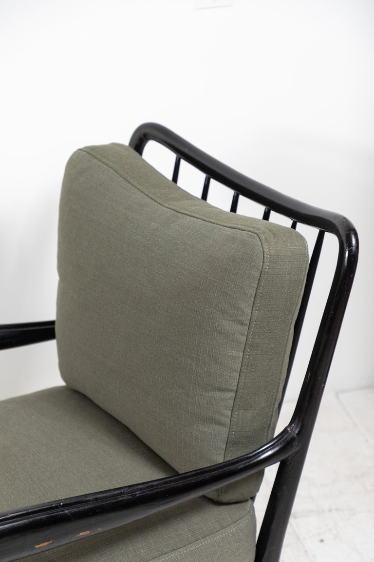 Wood Pair of Black Framed Italian Armchairs For Sale
