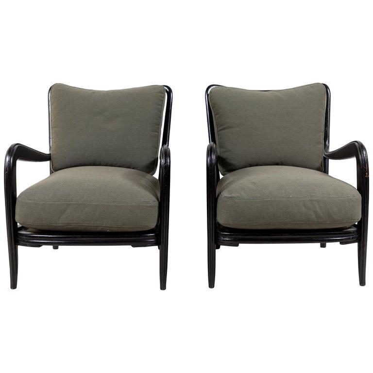 Pair of Black Framed Italian Armchairs For Sale