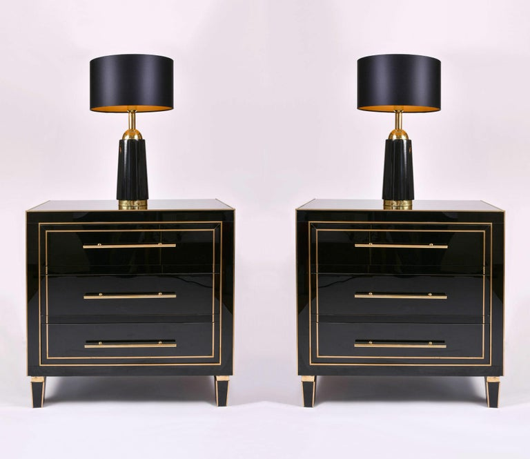 Mid-Century Modern Pair of Black Glass and Brass 1960s Swedish Table Lamps by Bergboms