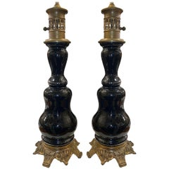 Pair of Black Glass Lamps