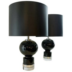 Pair of Black Glazed Ceramic Table Lamps with Chrome Plate and Lucite Bases