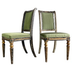 Pair of Black & Gold Regency Caned Dining Chairs, C'1810