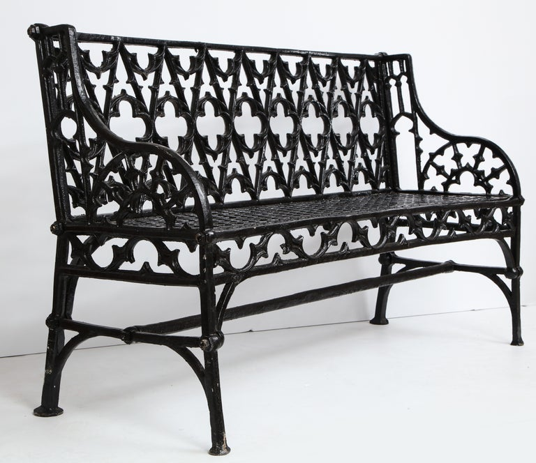 Pair of Black Gothic Style Cast Iron Benches 6