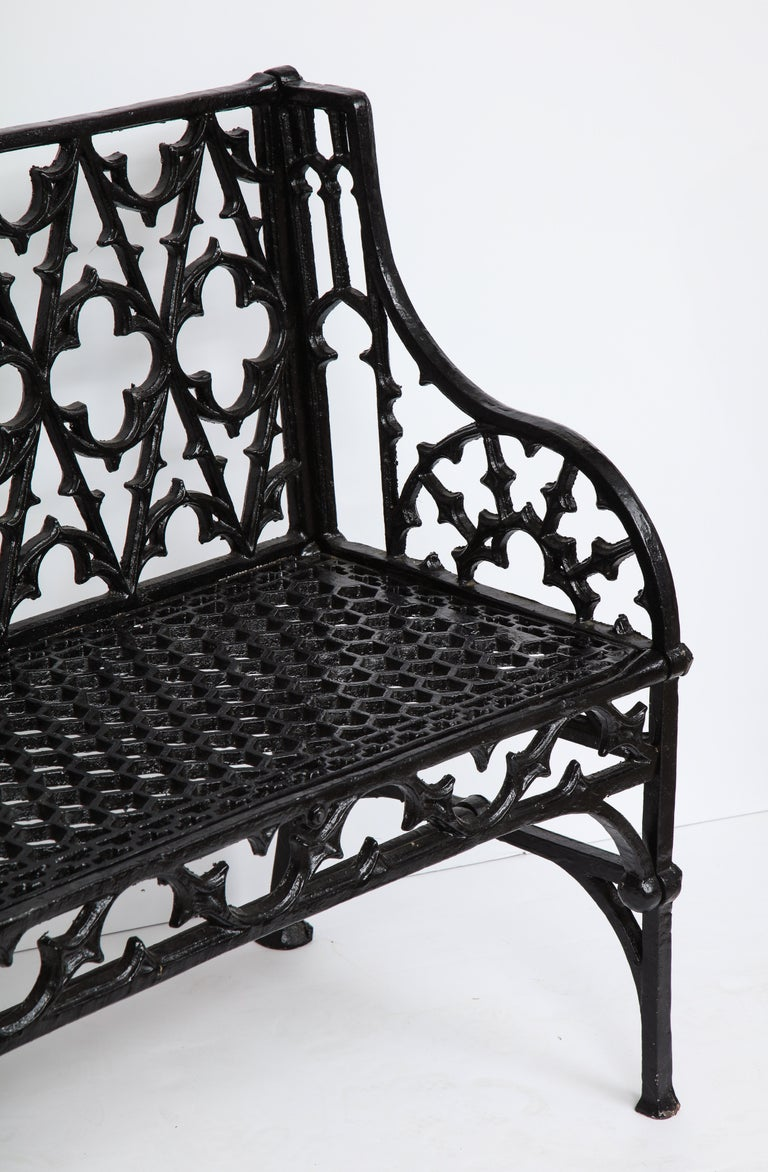 Pair of Black Gothic Style Cast Iron Benches 7