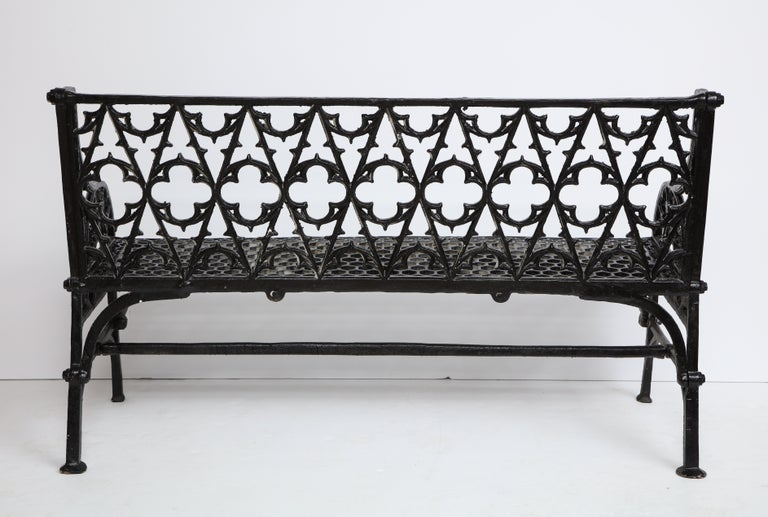 Pair of Black Gothic Style Cast Iron Benches 11