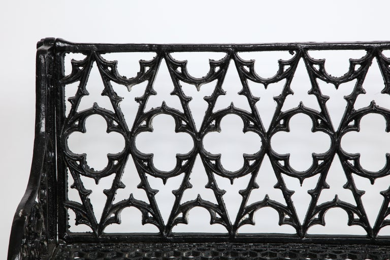 Pair of Black Gothic Style Cast Iron Benches In Good Condition In Mt. Kisco, NY