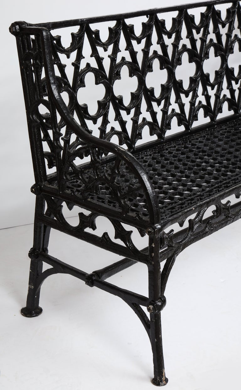 20th Century Pair of Black Gothic Style Cast Iron Benches