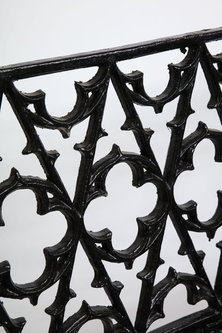 Pair of Black Gothic Style Cast Iron Benches 1